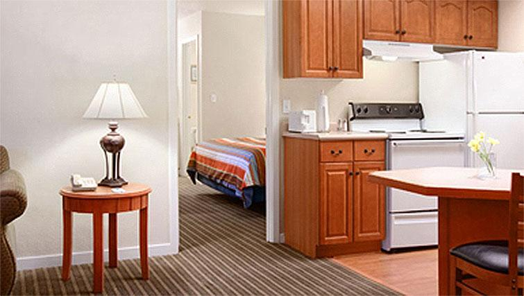 Open plan living area at Hyatt House Boston-Burlington - Citybase Apartments