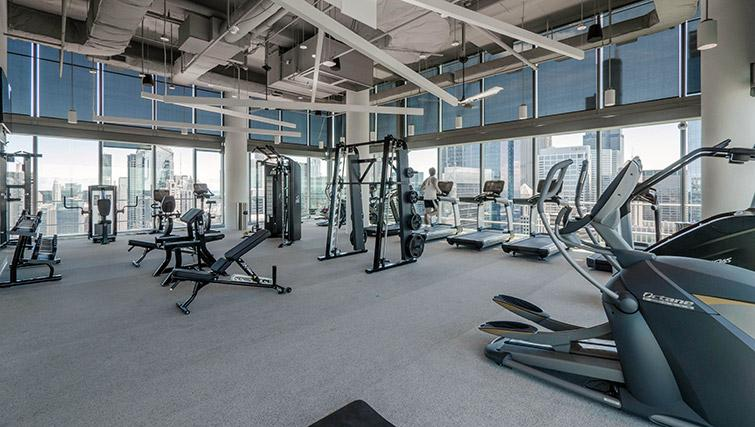 Fitness centre at Wolf Point West Apartments - Citybase Apartments