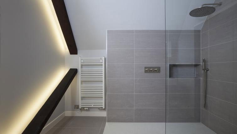Shower room at Ikonic Dean Village Luxury Apartment - Citybase Apartments