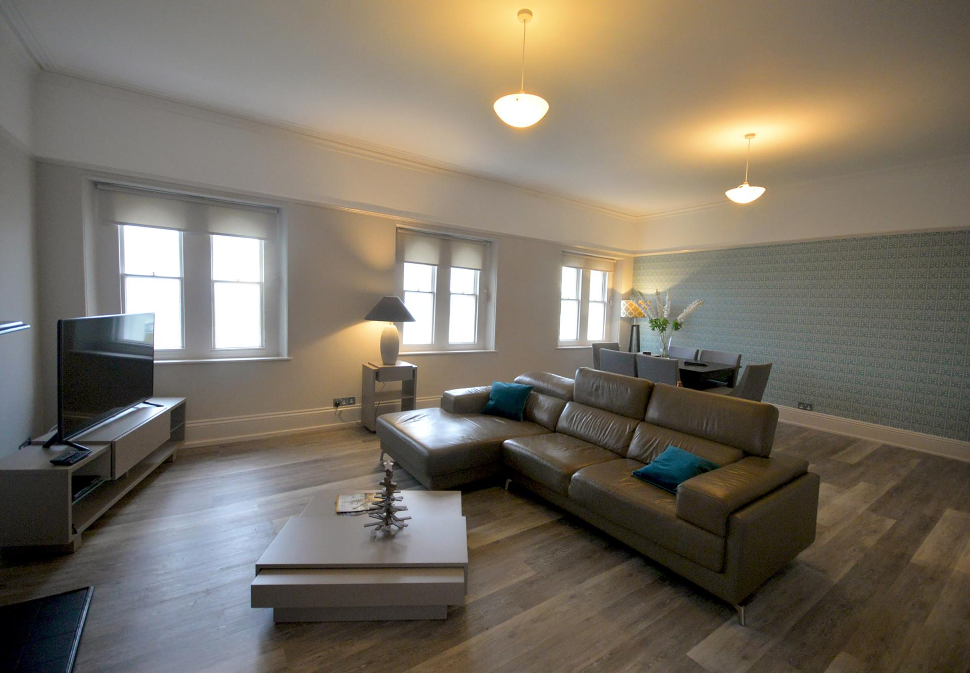 Leather sofa at Elliot Terrace Apartments, Centre, Plymouth - Citybase Apartments