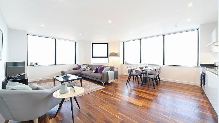 Open plan living space at Harrow Apartments - Citybase Apartments