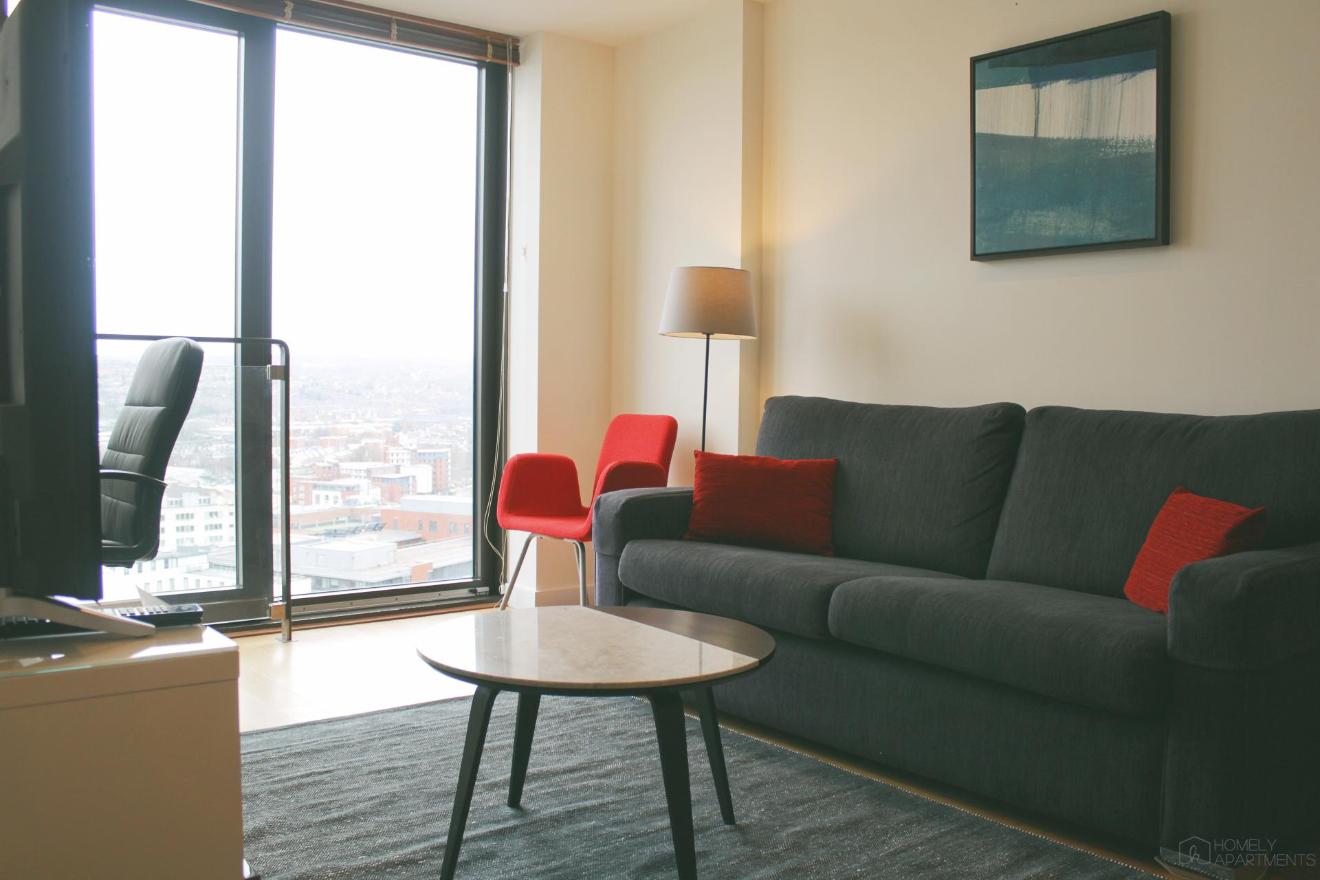 Bright lounge at St Paul's Apartments - Citybase Apartments