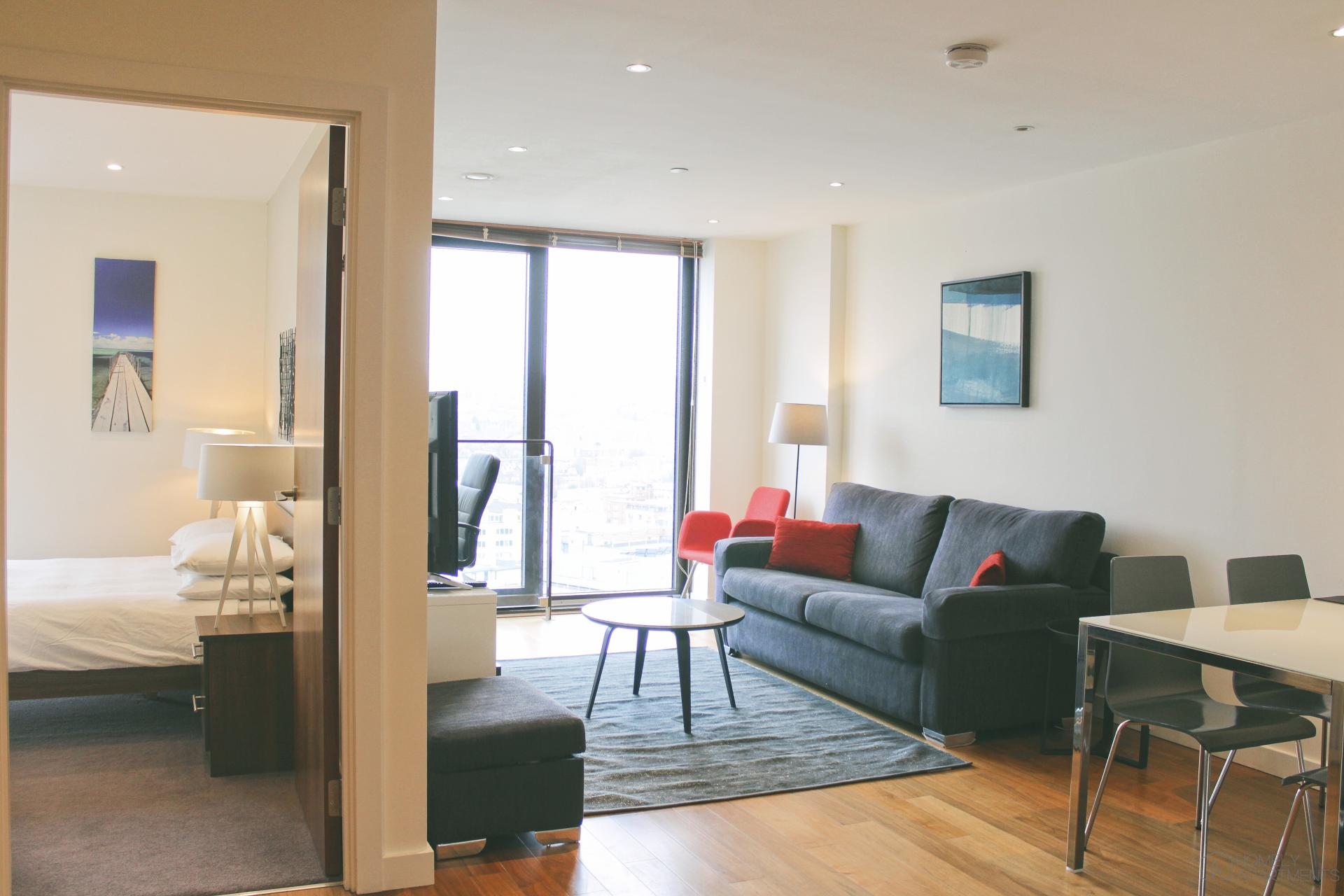 Open-plan living area at St Paul's Apartments - Citybase Apartments