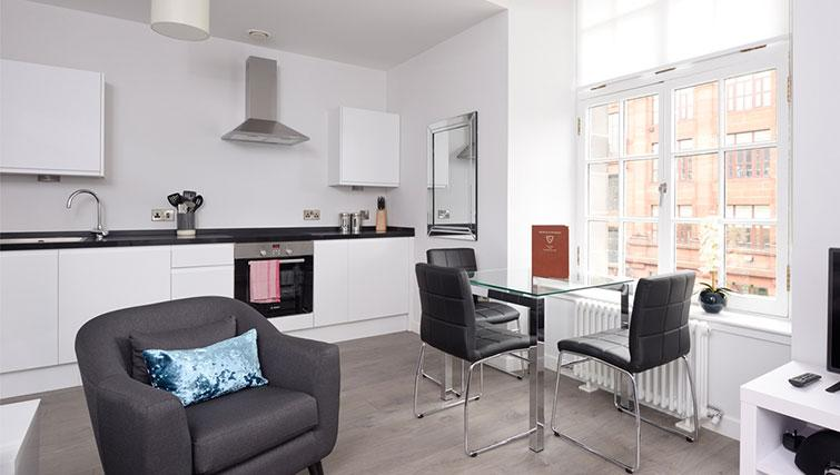Open plan living space at Glassford Residence - Citybase Apartments
