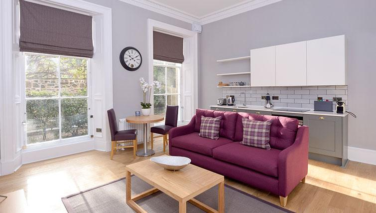 Bright living area at Distillers House - Citybase Apartments