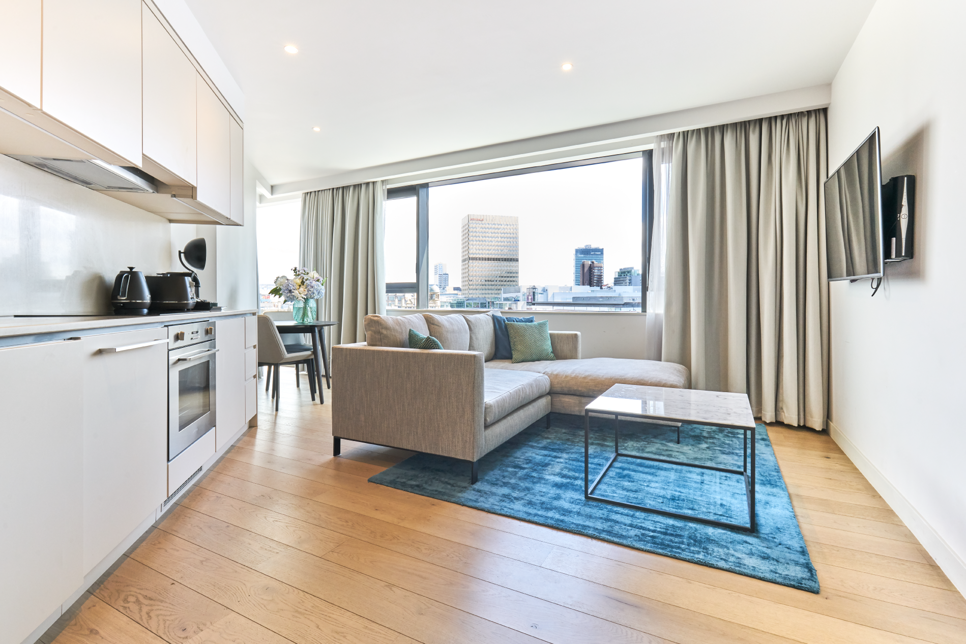 Open-plan kitchen at CitySuites Manchester - Citybase Apartments
