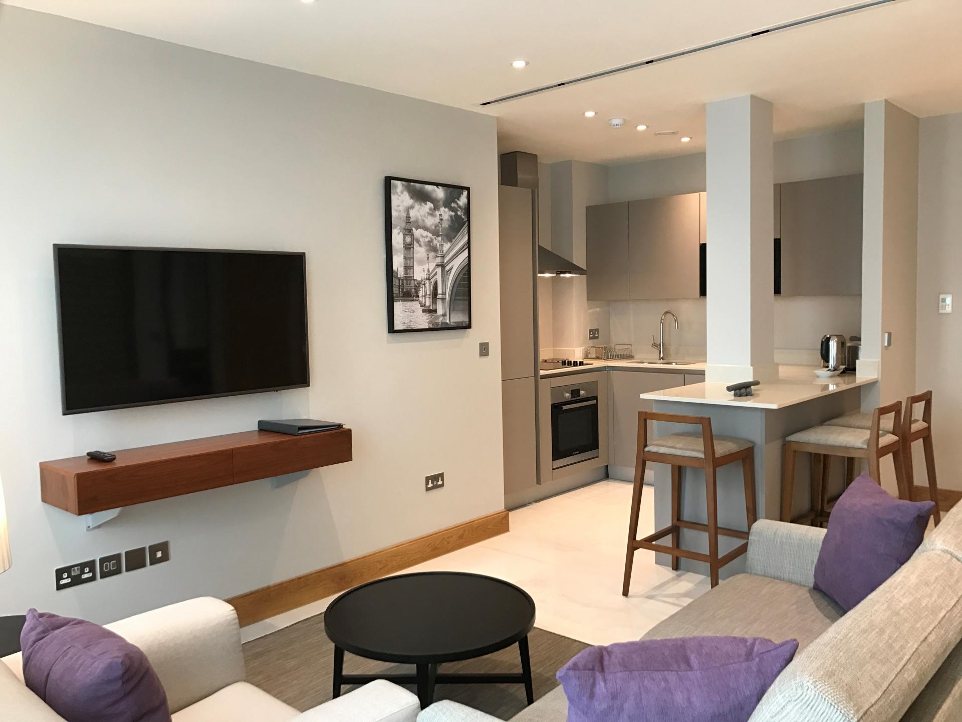 Stylish open-plan living area at Sanctum Belsize Apartments - Citybase Apartments