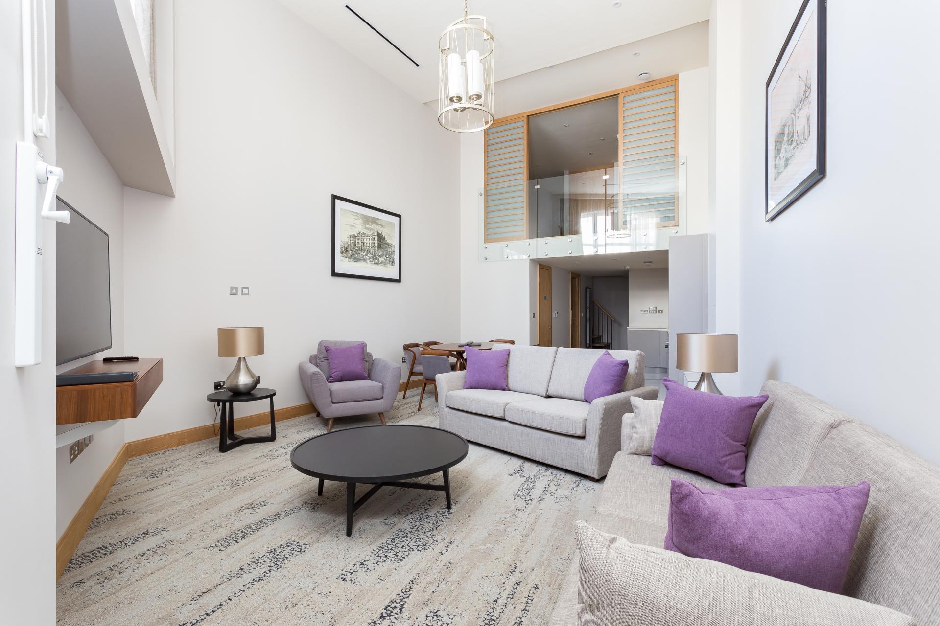 Living room at Sanctum Belsize Apartments - Citybase Apartments