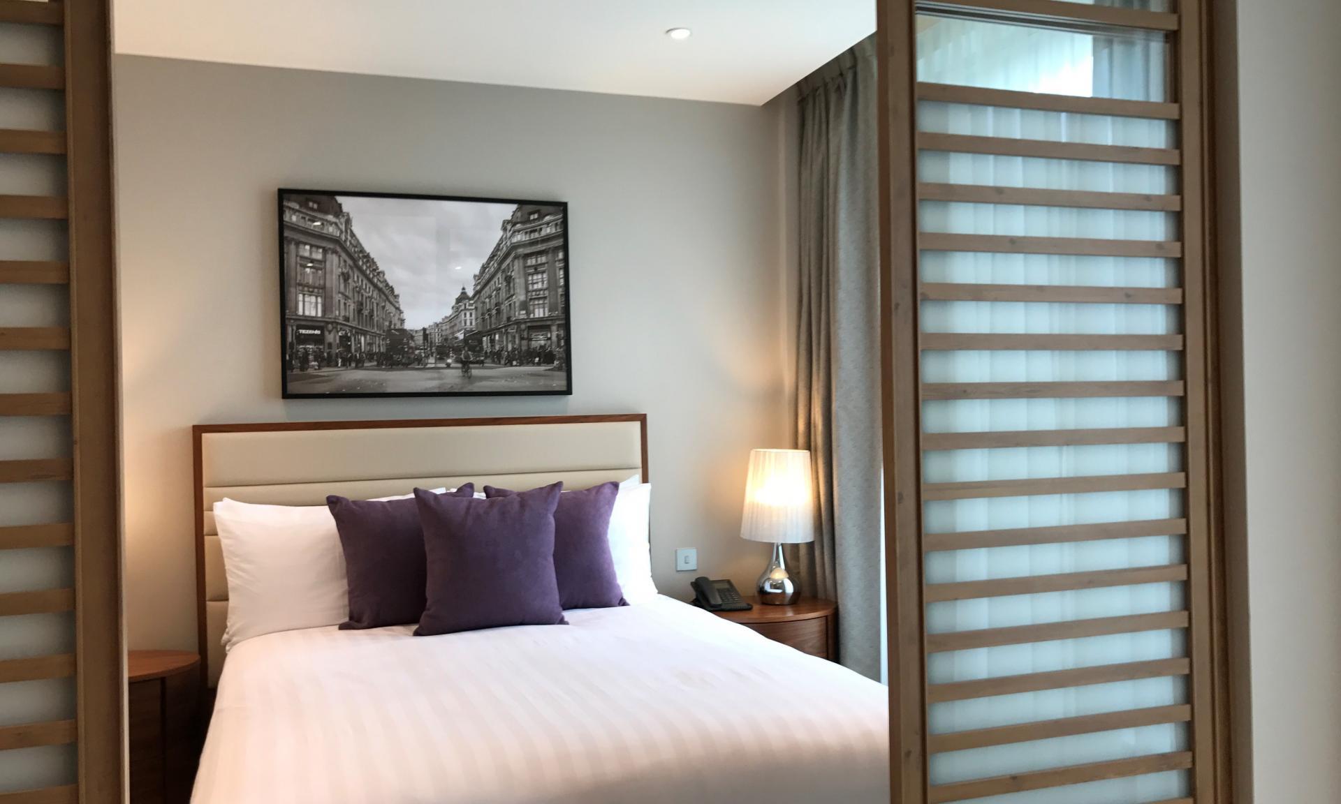 Modern bedroom at Sanctum Belsize Apartments - Citybase Apartments