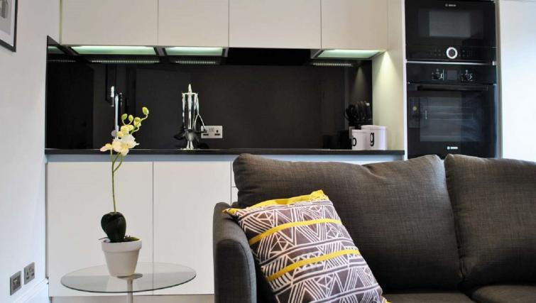 Living area/kitchen at Charing Cross by Q Apartments - Citybase Apartments