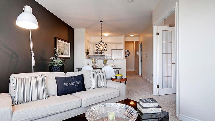 Open plan living area at Laurier East Apartments - Citybase Apartments