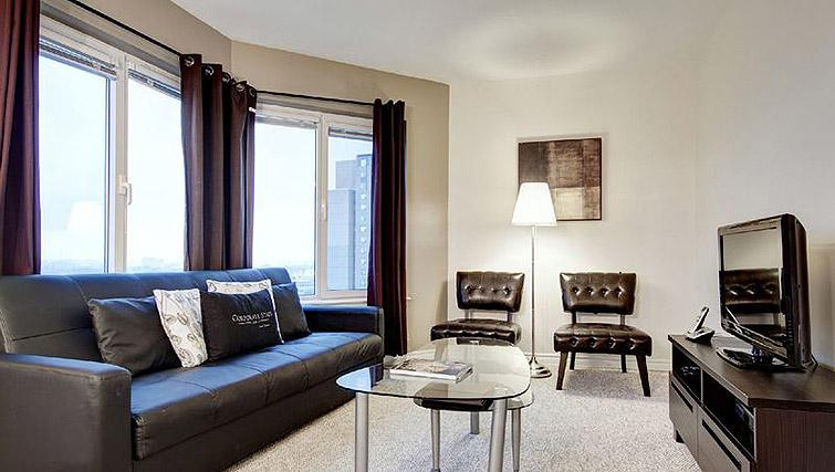 Cosy living room at Laurier East Apartments - Citybase Apartments