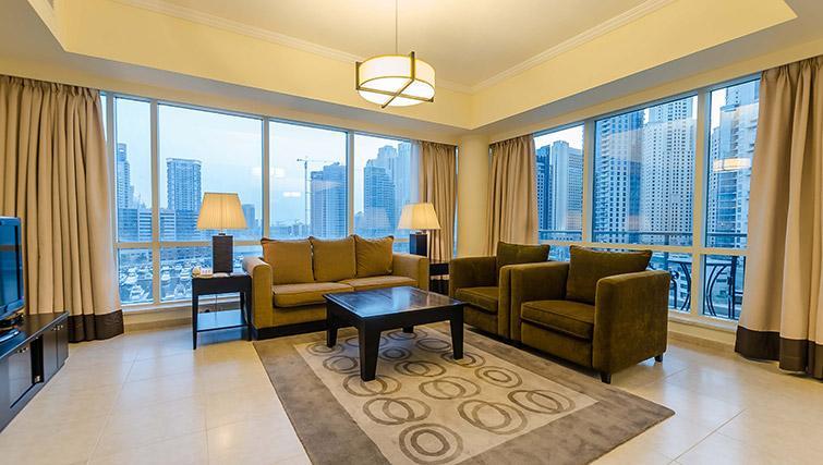 Sizable living area at Nuran Marina Serviced Residences - Citybase Apartments