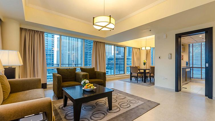 Attractive living area at Nuran Marina Serviced Residences - Citybase Apartments