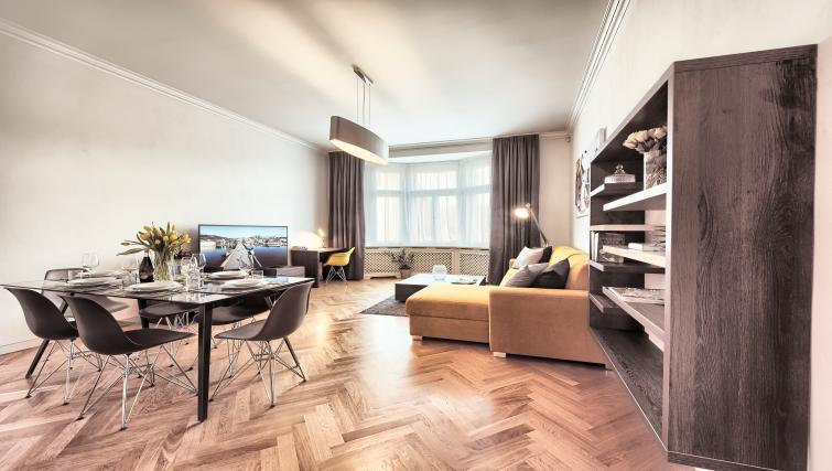 Living space at Milosrdnych Apartments - Citybase Apartments