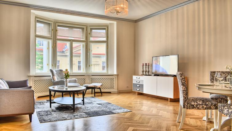 Spacious living area at Milosrdnych Apartments - Citybase Apartments