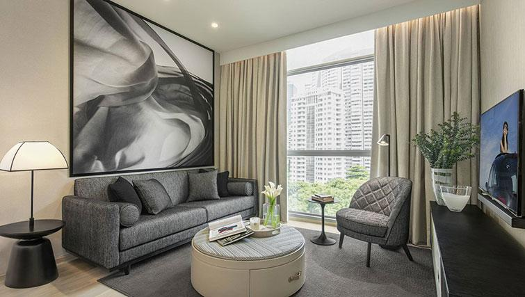 Living area at Ascott Orchard Apartments, Singapore - Citybase Apartments