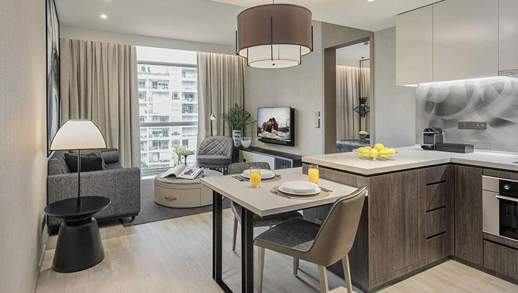 Open plan living area at Ascott Orchard Apartments, Singapore - Citybase Apartments