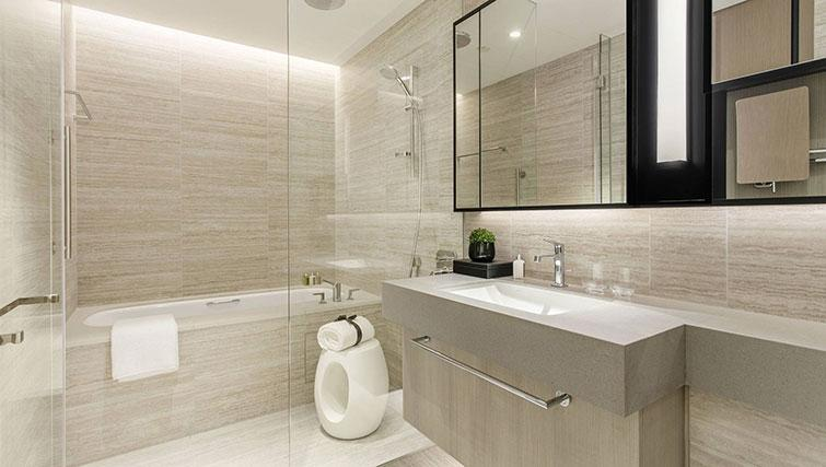 Modern bathroom at Ascott Orchard Apartments, Singapore - Citybase Apartments