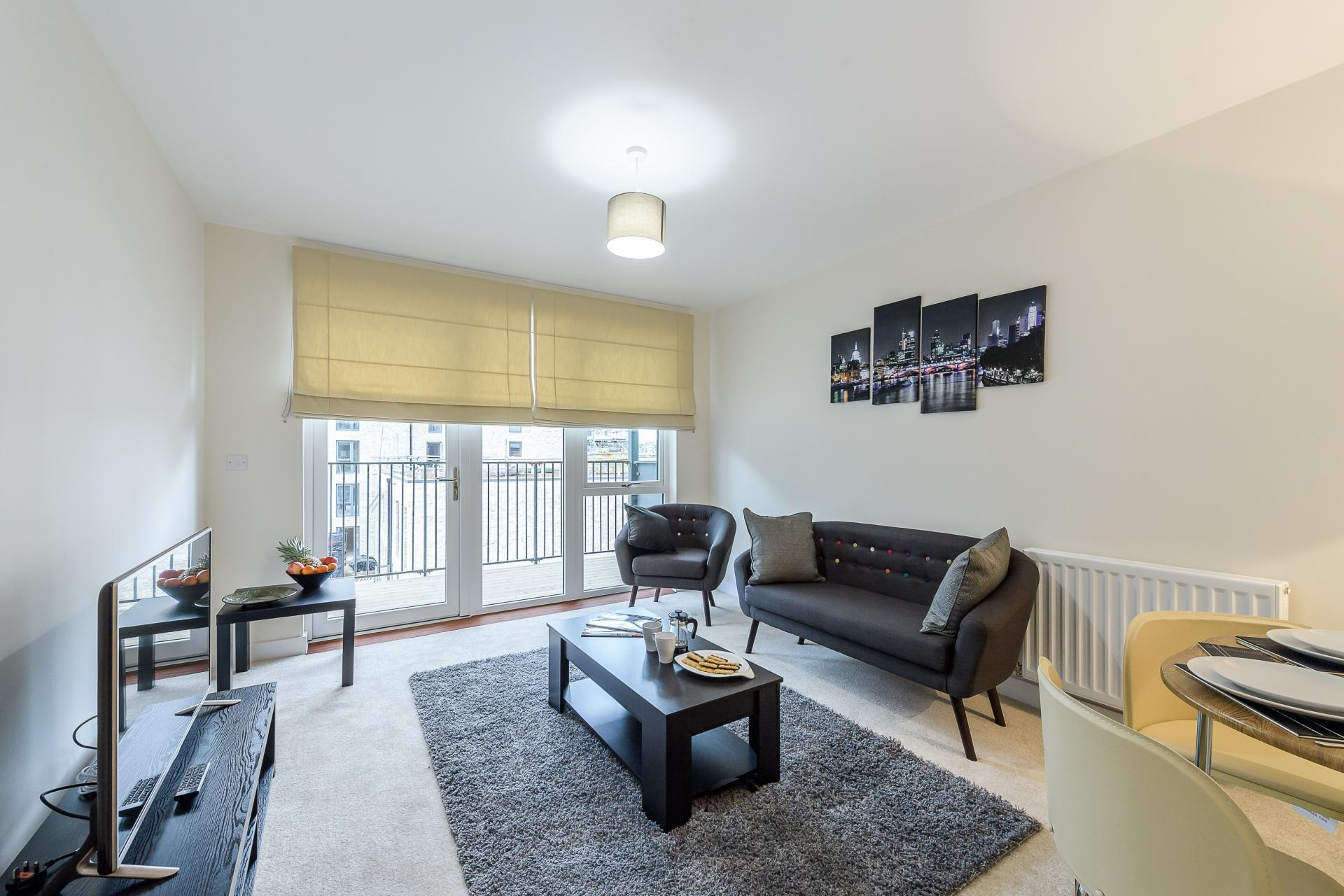 Bright living area at Flying Butler Colindale Apartments, Colindale, London - Citybase Apartments
