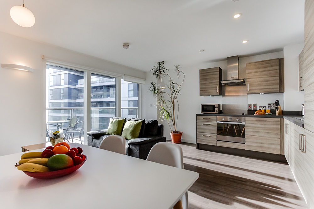 Open-plan kitchen at Dance Square Apartments - Citybase Apartments