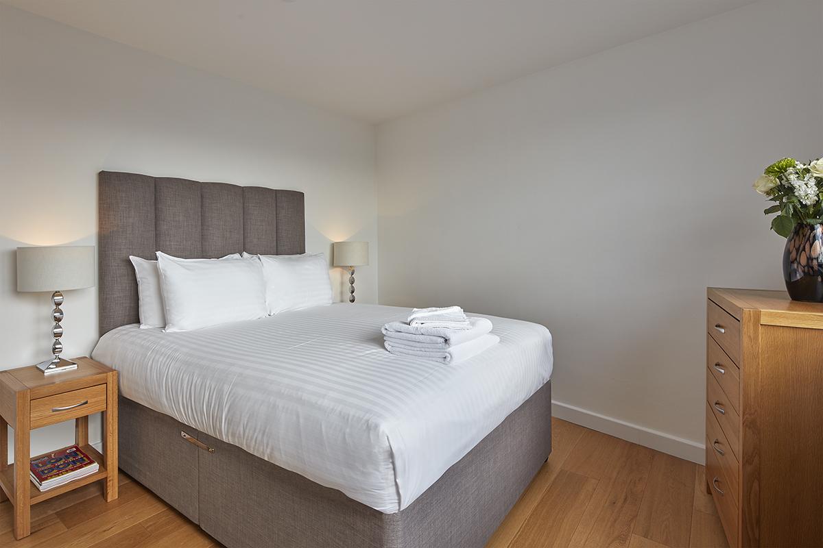 Modern bedroom at SACO Fitzrovia - Citybase Apartments