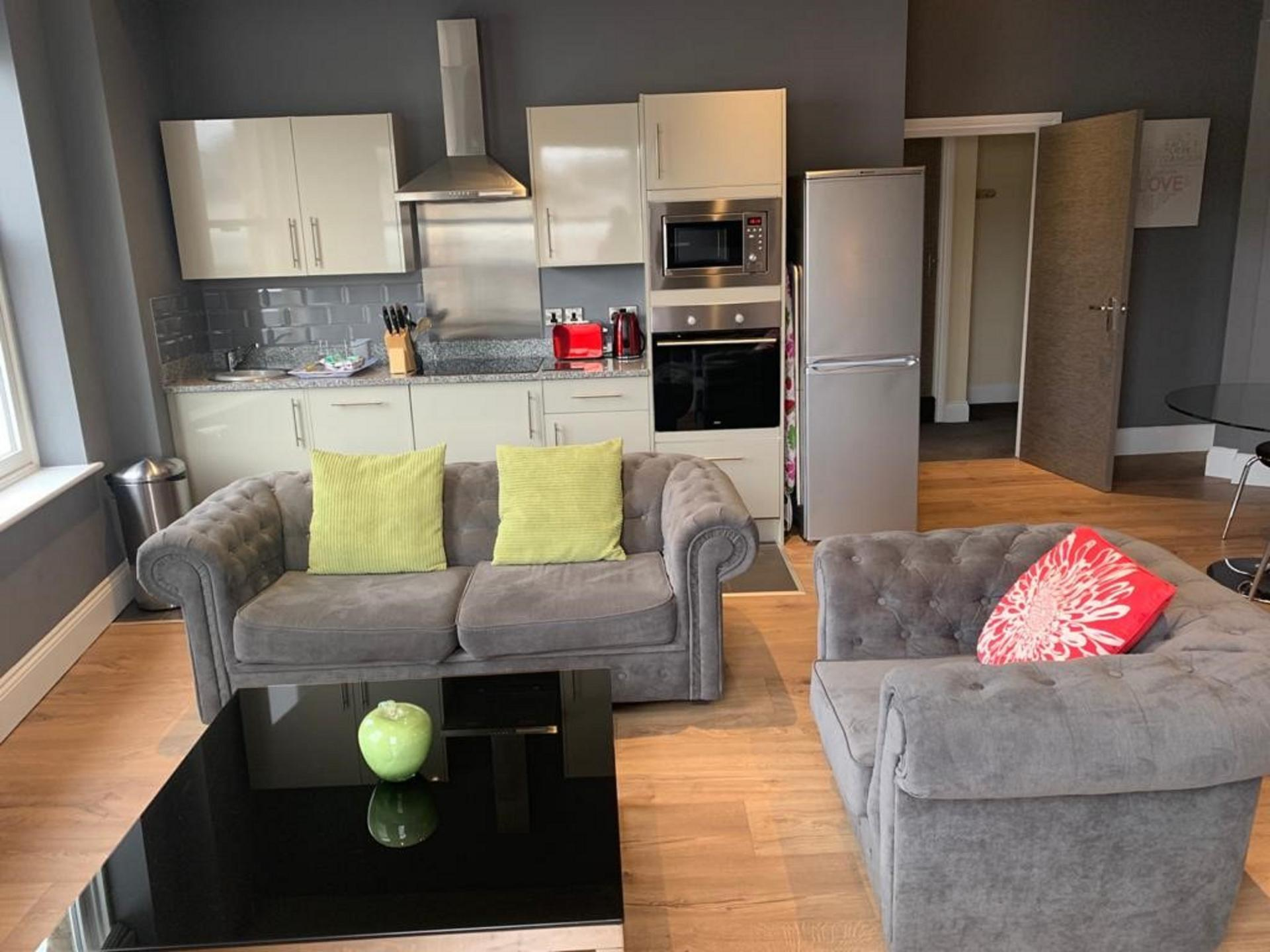 Open plan kitchen at Harrogate Lifestyle Apartments - Citybase Apartments