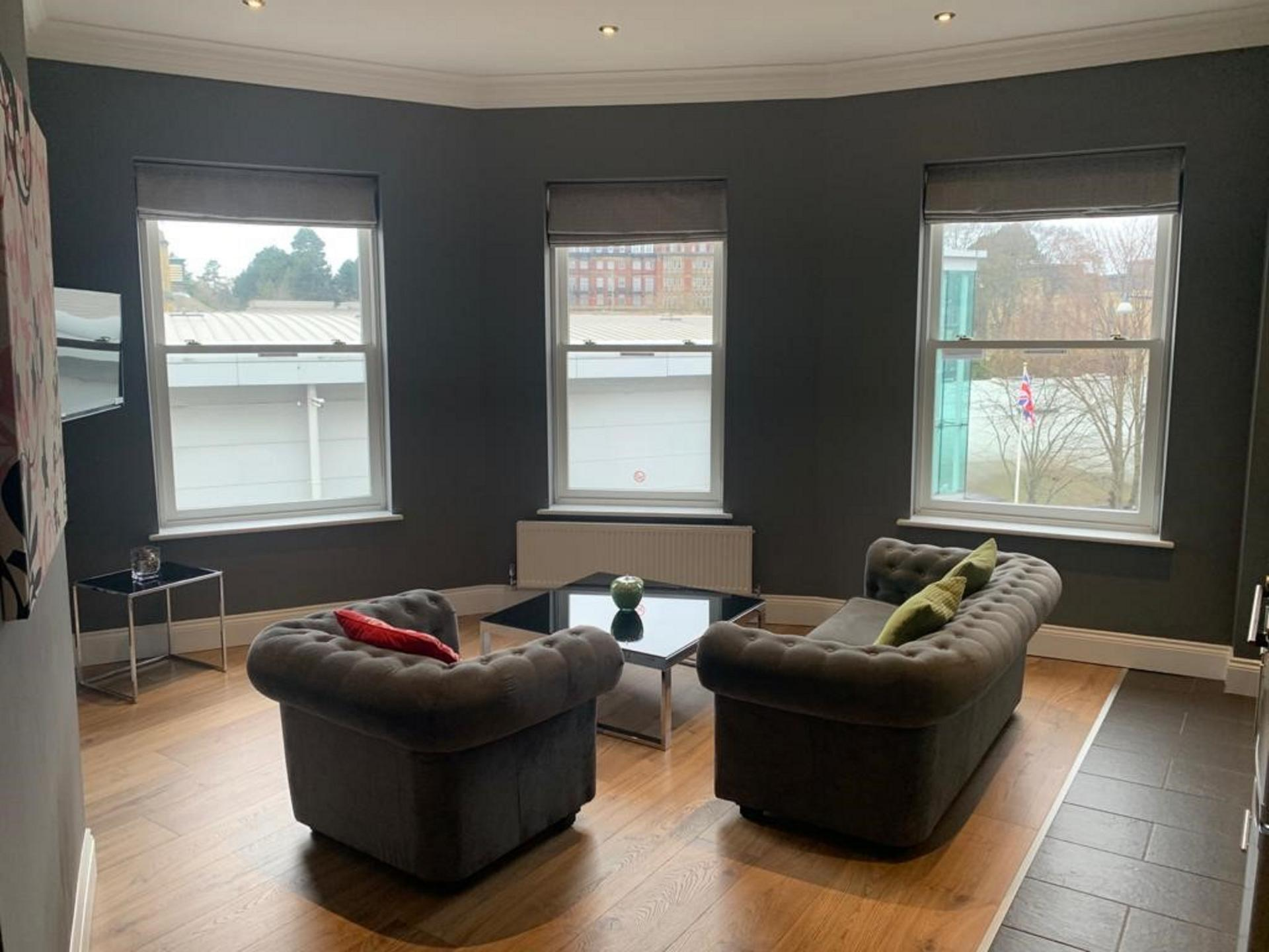 Bright seating area at Harrogate Lifestyle Apartments - Citybase Apartments