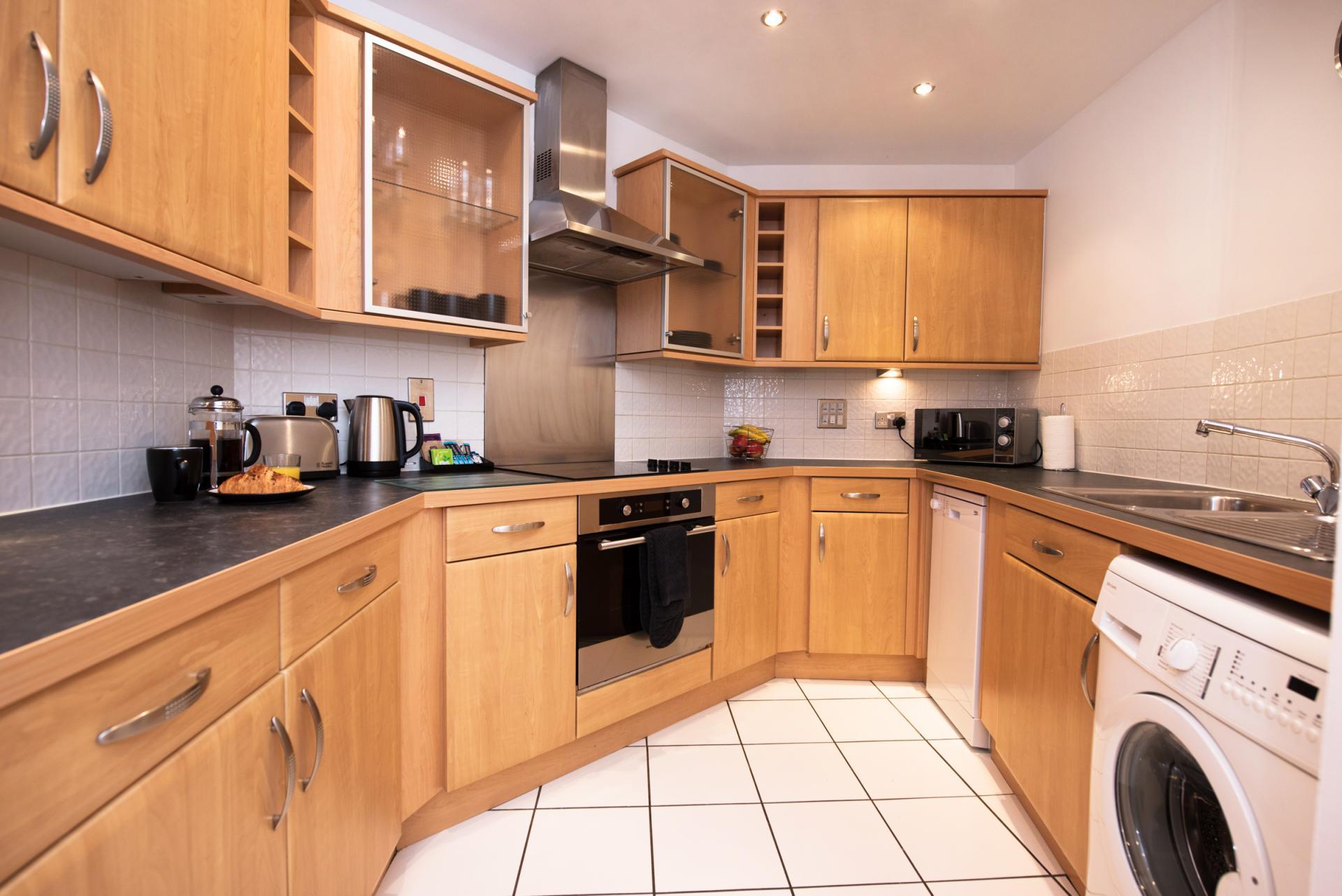 Kitchen facilities at Riverside House Apartments - Citybase Apartments