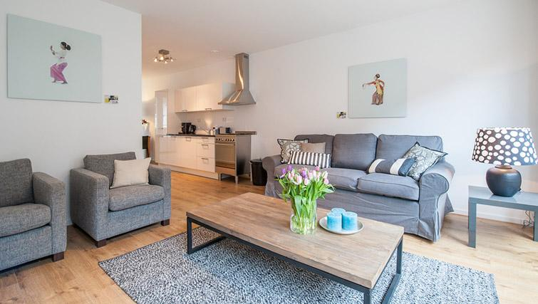 Open plan living area at De Pijp Apartments, Amsterdam - Citybase Apartments