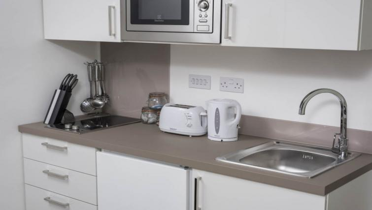 Basic kitchenette at Dream Apartments at Moorfields - Citybase Apartments