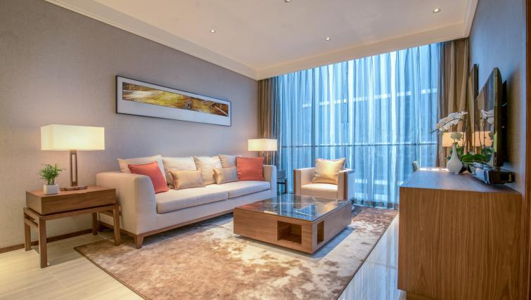 Stylish living area at Oakwood Residence Damei Beijing - Citybase Apartments