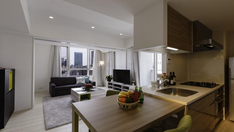 Gorgeous living area at Oakwood Apartments Minami Azabu Apartments - Citybase Apartments