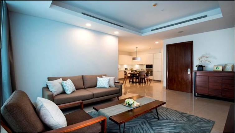 Comfortable living area at Oakwood Apartments La Maison Jakarta - Citybase Apartments