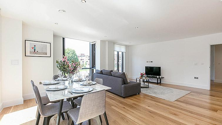 Living/dining area at Urban Chic Portobello Apartments - Citybase Apartments