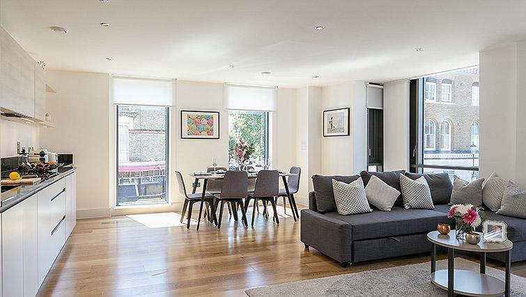 Open-plan living area at Urban Chic Portobello Apartments - Citybase Apartments